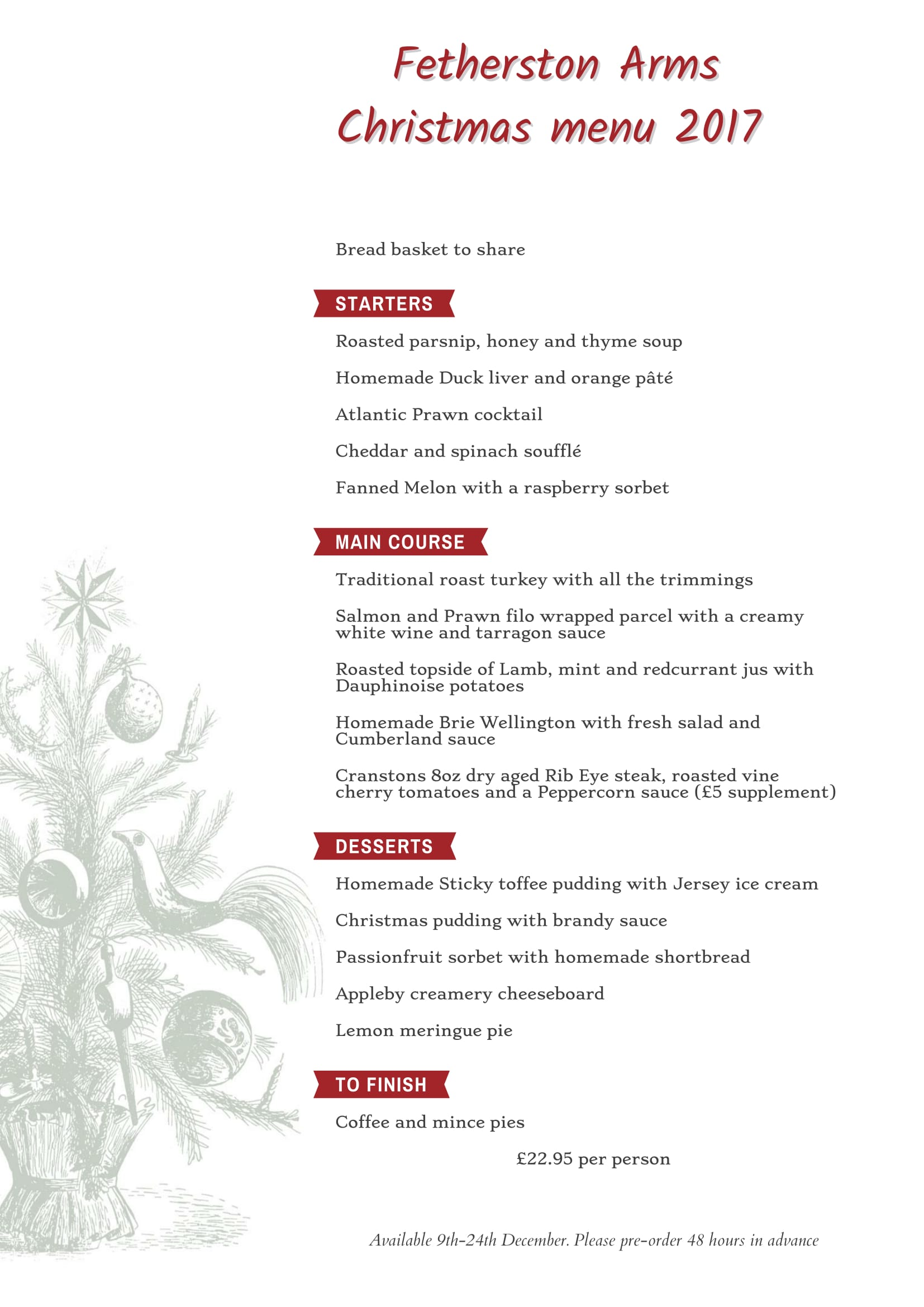 The Fetherstone Arms Christmas Menu 2017-1